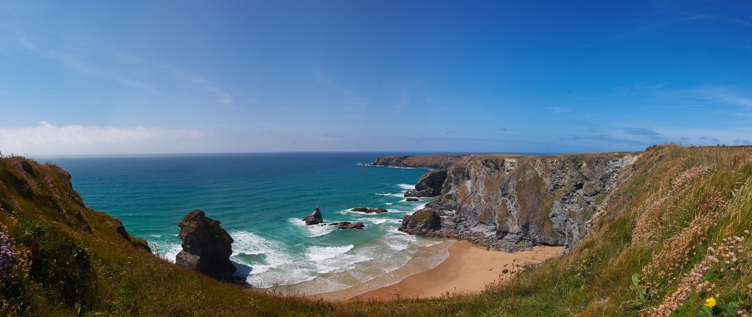 Bedruthan Steps From The Cliff Tops Panorama