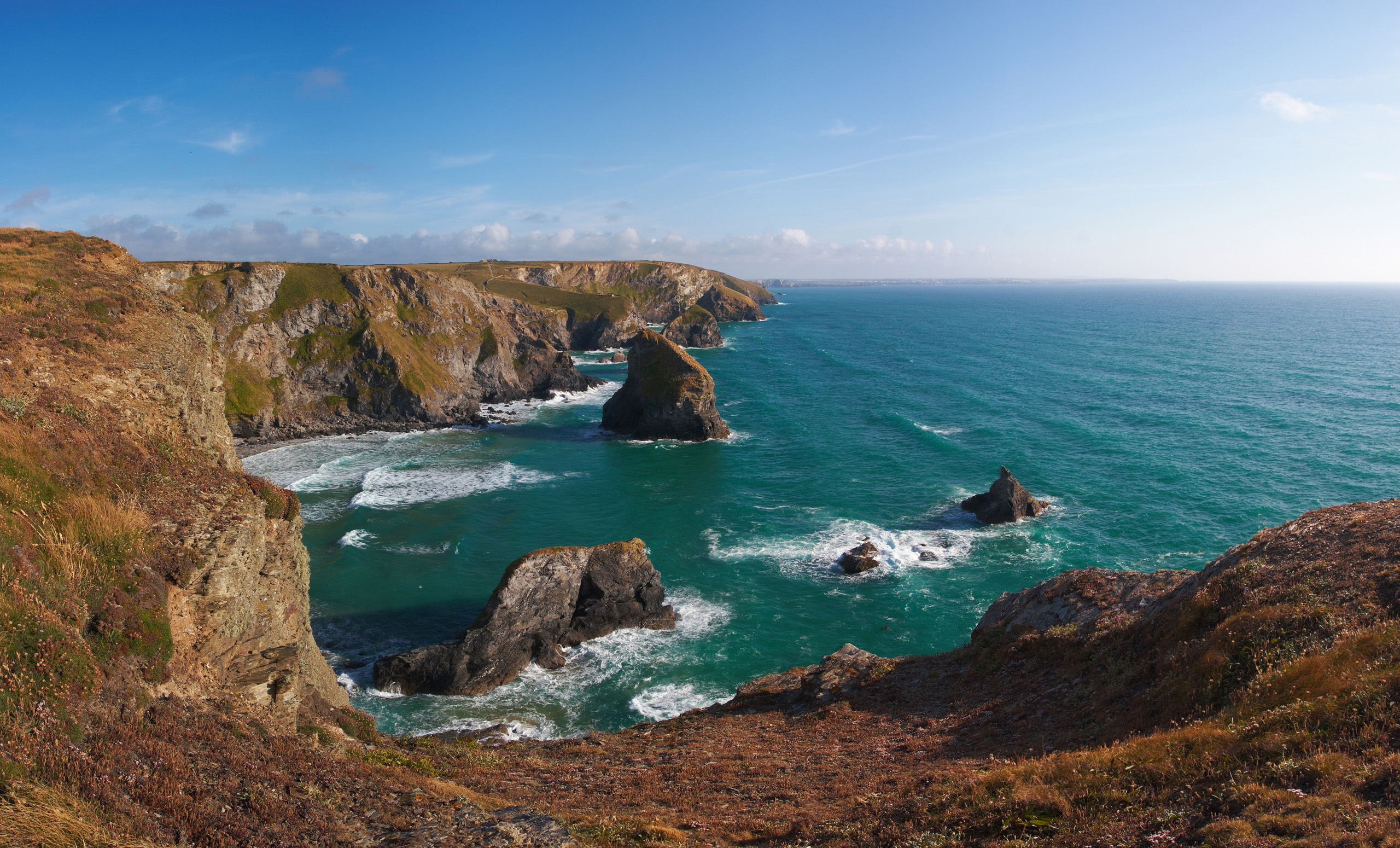 Bedruthan Steps At High Tide From Porthcothan Direction