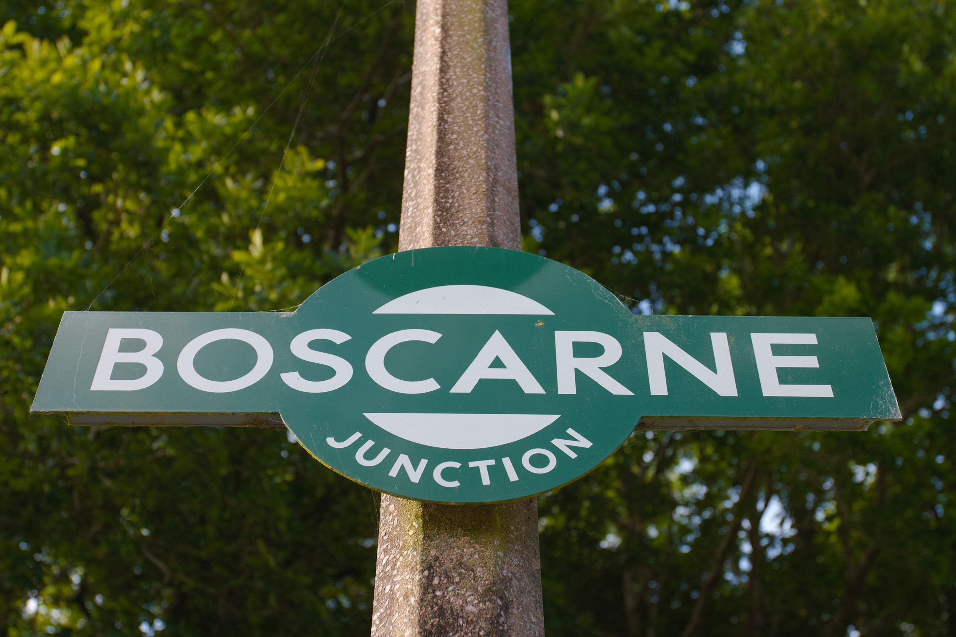 Boscarne Junction railway station sign