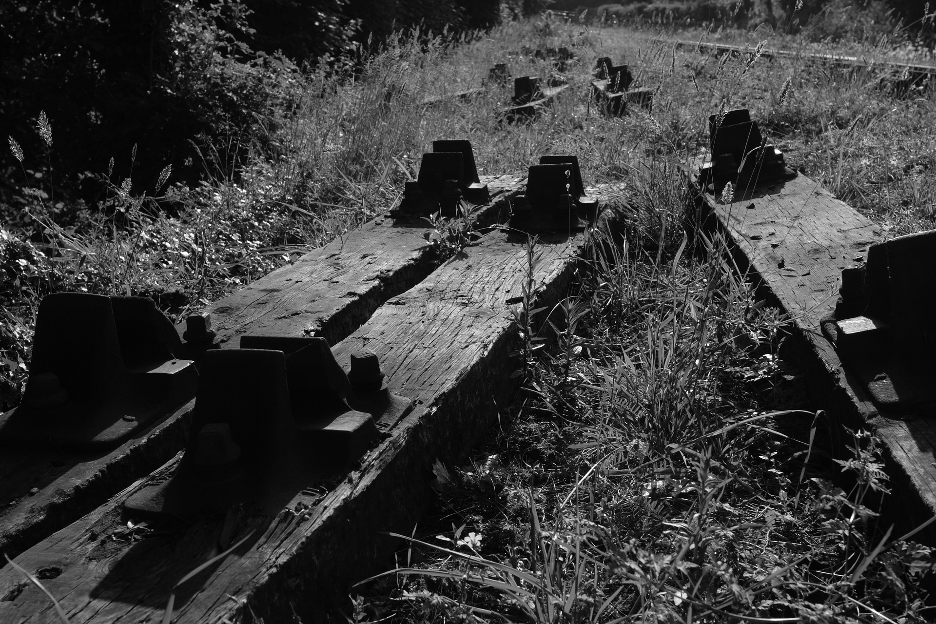 Old railway sleepers monochrome
