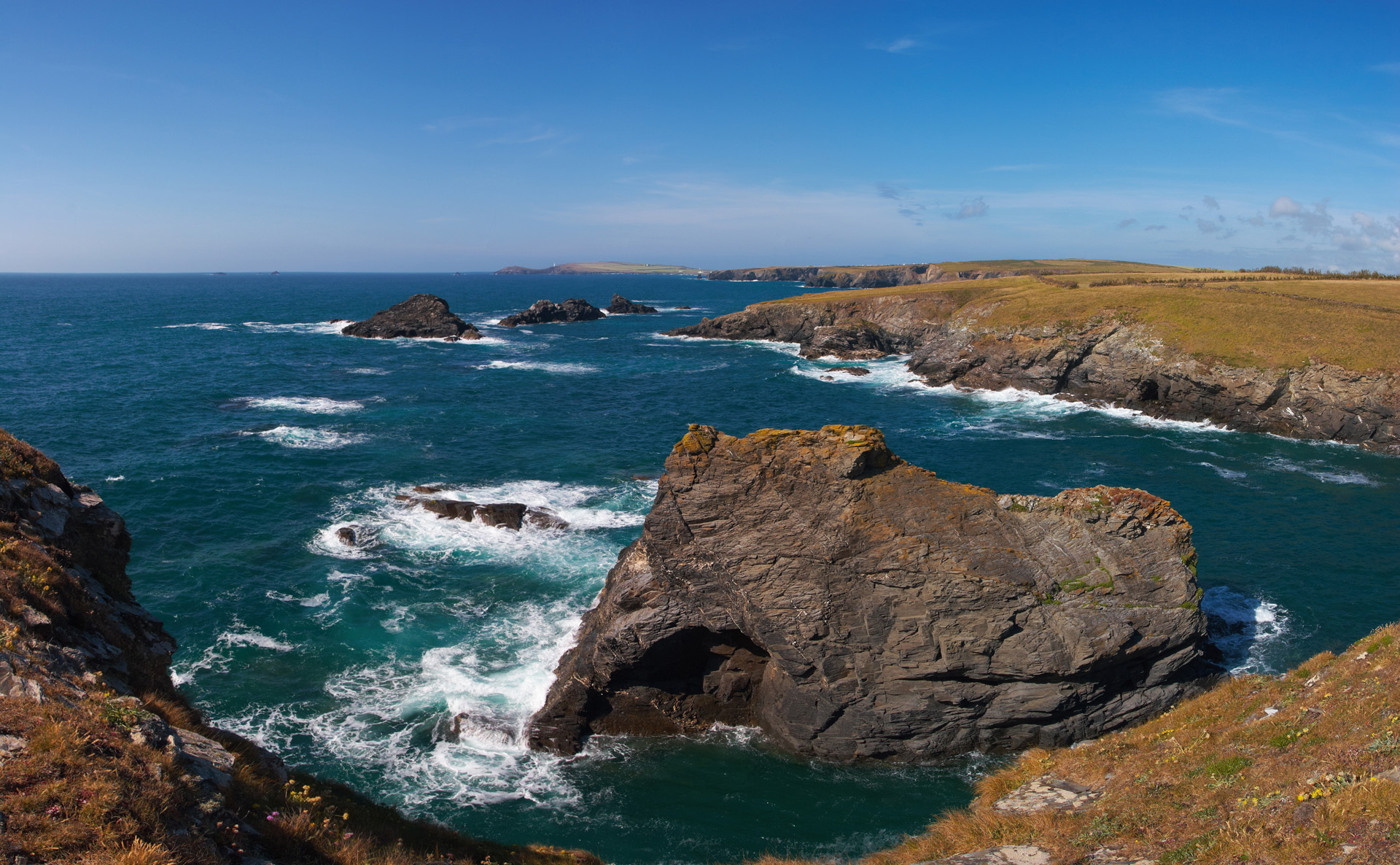 Porth Mear with Trescore Islands and Trevose Head behind