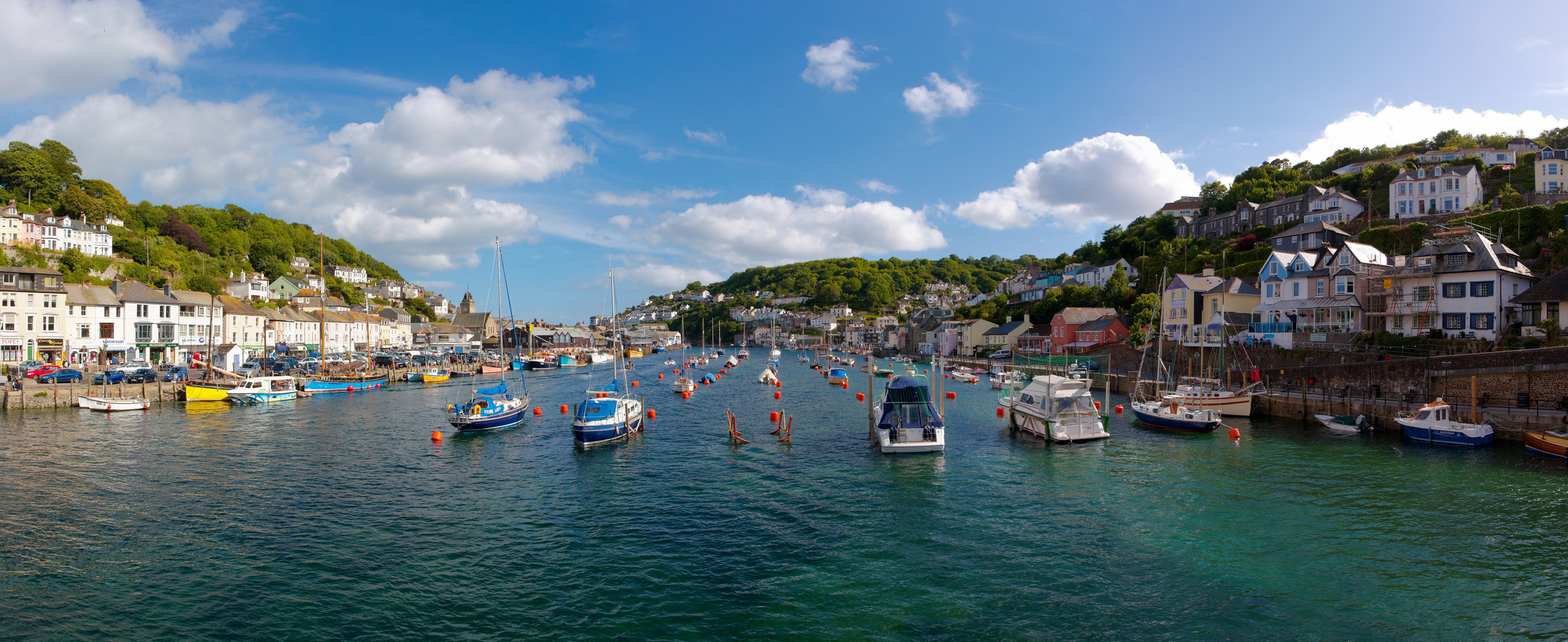 Looe river panorama from the bridge