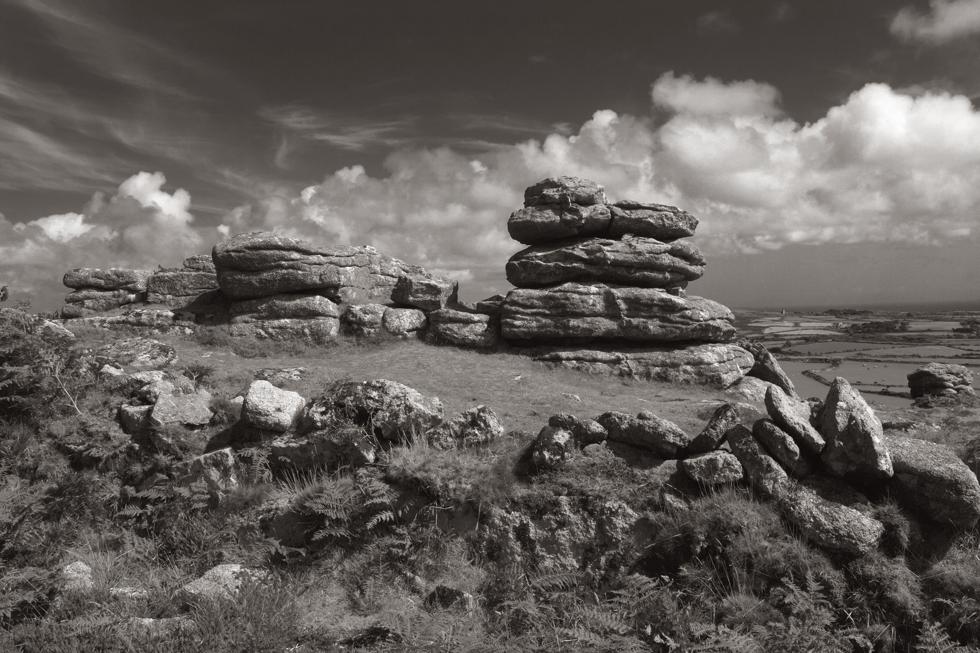 Rosewall Hill Tor Rock Formations Monotone