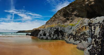 Bedruthan Steps Beach and Cliffs Panorama