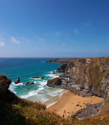Bedruthan Steps From The Cliff Tops Pano