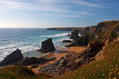 Bedruthan Steps At Sunset