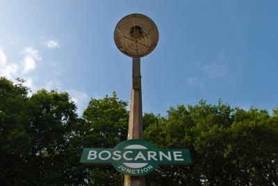 Boscarne Junction railway station sign and lamp