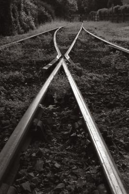 Train points in monochrome at Boscarne Junction, near Bodmin