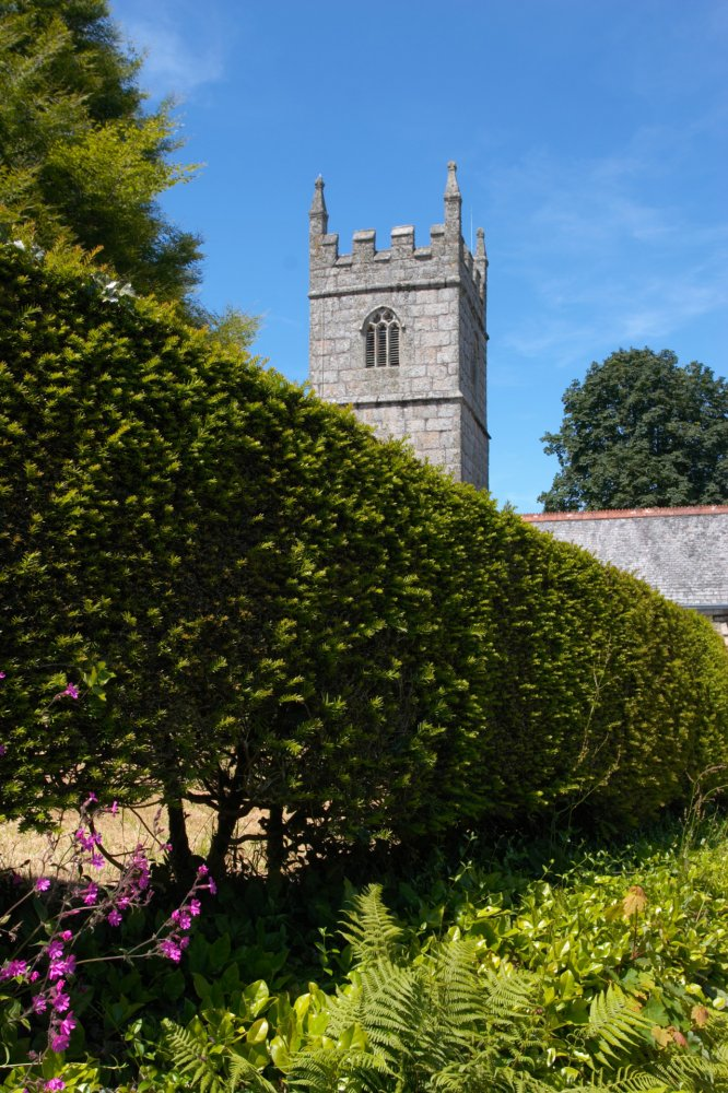 Lanhydrock Church over the hedge