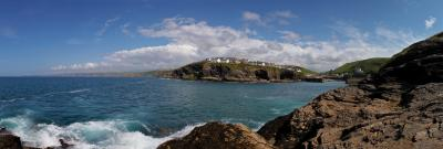 Port Isaac From The Rocks Panorama