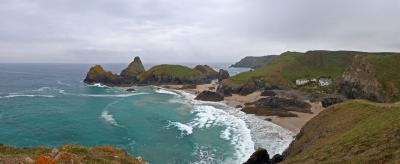 Kynance Cove panorama from the cliffs