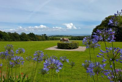 Sundial and sea view at Trengwainton Garden