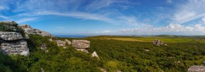 Both Coasts of Cornwall, Panorama from Rosewall Hill